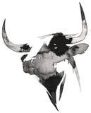Het zwart-witte zwart-wit schilderen met water en de inkt trekken stierenillustratie Stock Fotografie