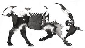 Het zwart-witte zwart-wit schilderen met water en de inkt trekken stierenillustratie Stock Foto
