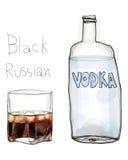 Het zwarte art. van Rus en van de wodka Stock Foto's