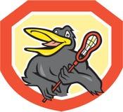 Het zwarte Beeldverhaal van het de Spelerschild van de Vogellacrosse stock illustratie