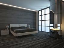 Het zwarte binnenland van de stijlslaapkamer met open haard Stock Foto's