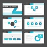 Het zwarte blauwe de elementen vlakke ontwerp van Infographic van presentatiemalplaatjes plaatste voor het pamflet van de brochur Royalty-vrije Stock Afbeeldingen