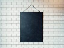Het zwarte die canvas hangen op de muur met witte tegels wordt verfraaid 3d Stock Foto