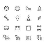 Het zwarte die pictogram van de autocontrole op witte achtergrond wordt geplaatst vector illustratie