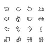 Het zwarte die pictogram van het babymateriaal op witte achtergrond wordt geplaatst Stock Afbeeldingen