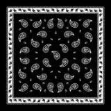 Het zwarte eenvoudige patroon van Paisley Bandana Stock Afbeelding
