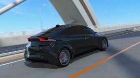 Het zwarte elektrische sportwagen drijven op de weg vector illustratie