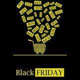 Het zwarte embleem van het het concepten vectorpictogram van de vrijdag hete verkoop met dalende kortingen en boodschappenwagentj royalty-vrije illustratie