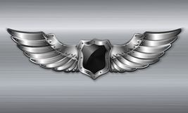 Het zwarte embleem van het metaal gevleugelde schild vector illustratie