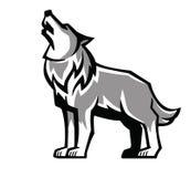 Het zwarte embleem van het wolfsgehuil Stock Afbeelding