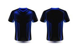 Het zwarte en blauwe lay-out van het e-sport malplaatje t-shirtontwerp royalty-vrije illustratie