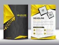Het zwarte en Gele malplaatje van de het ontwerplay-out van de bedrijfsbrochurevlieger Stock Foto's