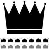 Het zwarte en grijze pictogram van kroon verschillende vormen Royalty-vrije Stock Afbeelding