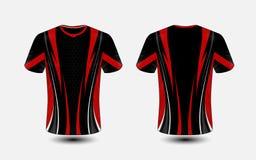 Het zwarte en rode lay-out van het e-sport malplaatje t-shirtontwerp royalty-vrije illustratie