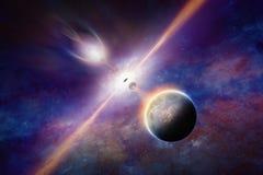Het zwarte gat trekt planeten en sterren royalty-vrije stock afbeeldingen