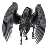 Het zwarte Gevleugelde Paard van Pegasus Royalty-vrije Stock Fotografie