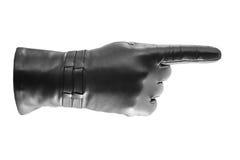 Het zwarte handschoen gesticuleren Royalty-vrije Stock Afbeeldingen