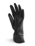Het zwarte handschoen gesticuleren Stock Foto