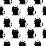 Het zwarte hoofd van de zittingskat met pootdruk en weinig roze hart Leuk beeldverhaalkarakter De inzameling van het babyhuisdier stock illustratie