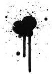 Het zwarte inkt of olie splat vlek druipen Stock Foto's