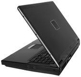 Het zwarte Laptop Zijaanzicht ~ van de Computer dat op Whit wordt geïsoleerdp Royalty-vrije Stock Afbeeldingen