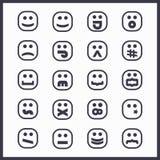 Het zwarte lijnvierkant ziet emoticons en geplaatste pictogrammen onder ogen Stock Afbeeldingen