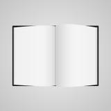 Het zwarte malplaatje van de boock blanco pagina voor ontwerplay-out vectorillustratie op grijze achtergrond royalty-vrije illustratie