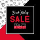 Het zwarte malplaatje van de vrijdagverkoop Promotie banner Stock Afbeelding