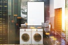 Het zwarte marmeren toilet, affiche stemde onduidelijk beeld Royalty-vrije Stock Fotografie