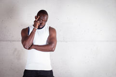 Het zwarte mens bidden Royalty-vrije Stock Foto