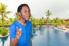Het zwarte mens zingen Stock Fotografie