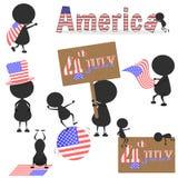 Het zwarte mensenkarakter velen die met Verenigd handelen Verklaard van Amerika de V.S. markeert voor het gebruiken over 4 JULI-O Royalty-vrije Stock Afbeeldingen