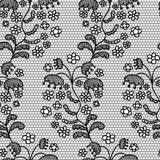 Het zwarte naadloze patroon van de kant vectorstof Stock Afbeelding