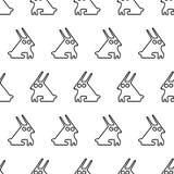 Het zwarte naadloze patroon van het lijn grafische konijn Stock Illustratie
