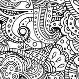 Het zwarte naadloze patroon van het lijn Indische geometrische mozaïek Vector Illustratie