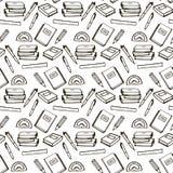 Het zwarte naadloze patroon van het lijnboek Stock Illustratie