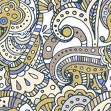 Het zwarte naadloze patroon van lijn Indische Paisley Vector Illustratie