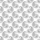 Het zwarte naadloze patroon van lijnpaisley Royalty-vrije Illustratie