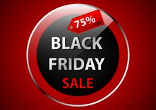 Het zwarte ontwerp van de de bannerbevordering van de vrijdag transparante cirkel Royalty-vrije Stock Afbeelding