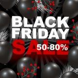 Het zwarte ontwerp van de vrijdagverkoop van ballonachtergrond Stock Afbeelding