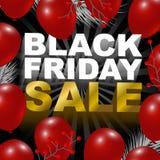 Het zwarte ontwerp van de vrijdagverkoop van rode ballonachtergrond Royalty-vrije Stock Foto