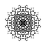 Het zwarte ornament van de mandala uitstekende decoratieve werveling van de silhouetbloem vector illustratie