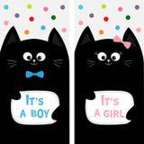 Het zwarte paar van de kattenfamilie met boog De reeks van de vliegeraffiche Leuk grappig beeldverhaalkarakter Zijn een jongensme Stock Afbeelding
