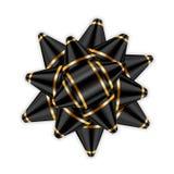 Het zwarte pakket van het het decor 3D element van het booglint Het glanzende gouden de giftheden van de satijndecoratie, vakanti vector illustratie