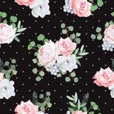 Het zwarte patroon met boeketten van roze, pioen, anemoon, bruniabloemen en eucaliptis gaat weg Royalty-vrije Stock Afbeelding