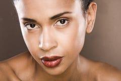 Het zwarte portret van de haar jonge vrouw, studioschot Stock Afbeelding