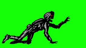 Het zwarte silhouet een zombiemilitair in helm is kruipen op alle fours stock illustratie