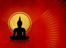 Het zwarte silhouet van Boedha - meditatieconcept Stock Afbeelding