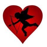 Het zwarte silhouet van Cupido van de valentijnskaart Royalty-vrije Stock Afbeelding
