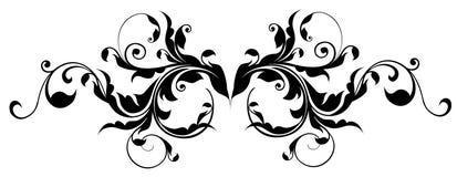 Het zwarte silhouet van het bloempatroon vector illustratie